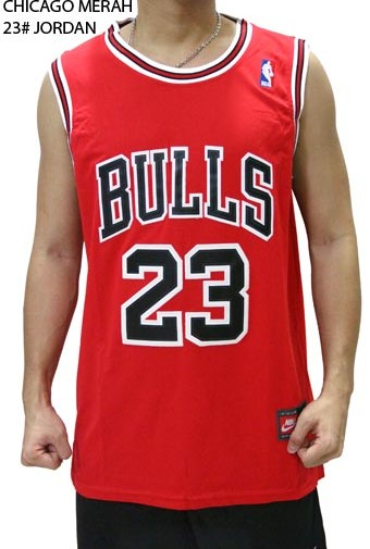 Jersey NBA Basket Chicago Merah 23# Jordan