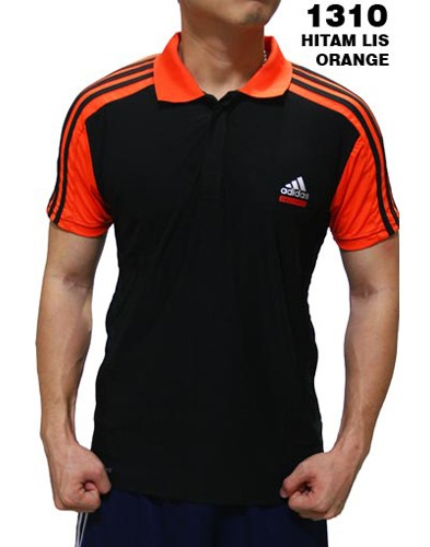 Polo Shirt Adidas 1310 Hitam List Orange
