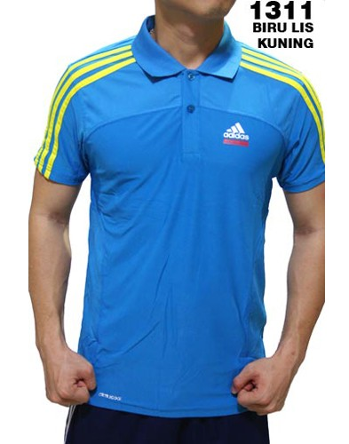 Polo Shirt Adidas 1311 Biru List Kuning