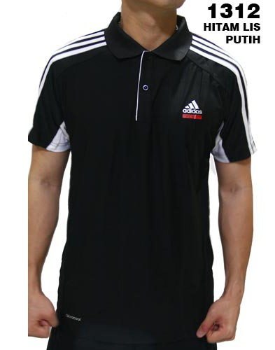 Polo Shirt Adidas 1312 Hitam List Putih