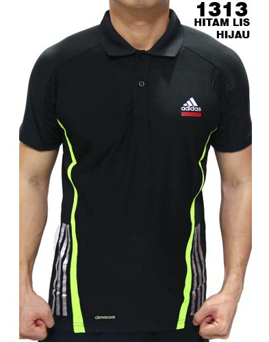 Polo Shirt Adidas 1313 Hitam List Hijau