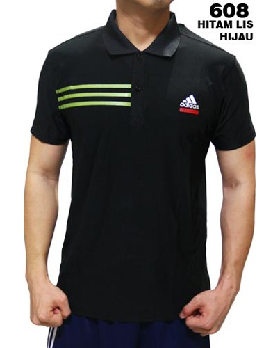 Polo Shirt Adidas 608 Hitam List Hijau