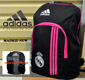 TAS RANSEL BOLA REAL MADRID NEW HITAM LIS PINK + RAINCOVER