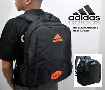 TAS RANSEL BOLA MANCHESTER UNITED NEW ROTAM HITAM ORANGE + RAINCOVER