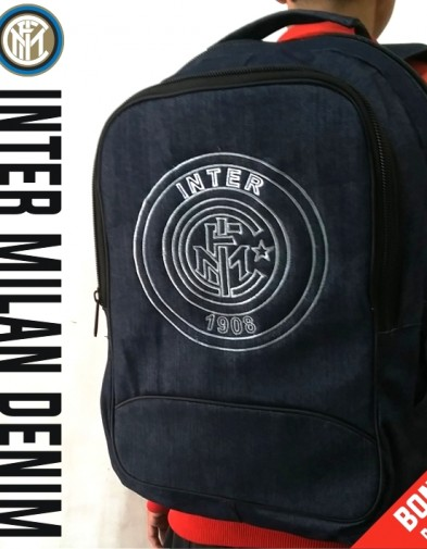 TAS RANSEL BOLA INTER MILAN DENIM + RAINCOVER