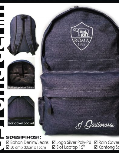 TAS RANSEL BOLA AS ROMA DENIM + RAINCOVER