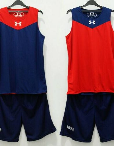 Jersey Basket Latihan Under Armour Dongker Merah Reversible (Bolak-Balik)