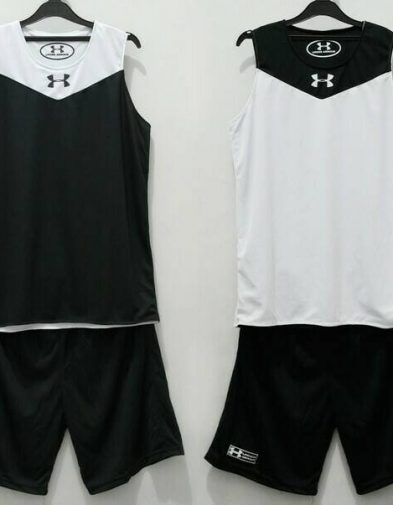 Jersey Basket Latihan Under Armour Reversible Hitam Putih